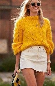Street Style trends : streetstyleplatform: Weekday thick rib cropped jumper in… streetstyleplatform: Weekday thick rib cropped jumper in orange Printemps Street Style, Spring Street Style, Autumn Winter Fashion, Spring Fashion, 90s Fashion, White Denim Skirt, Copenhagen Fashion Week, Street Style Trends, Knitwear Fashion