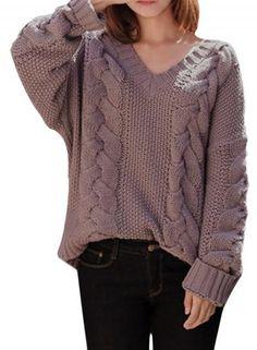 #Spring #AdoreWe #Oasap.com - #Azbro V Neck Loose Fit Vintage Thicken Sweater - AdoreWe.com