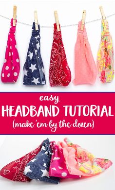 Easy Headband Tutorial: A girl with long hair can never have too many headbands! learn how to sew your own headbands with this headband tutorial. Easy Sewing Projects, Sewing Projects For Beginners, Sewing Hacks, Sewing Tutorials, Sewing Crafts, Sewing Tips, Tutorial Sewing, Tutorial Crochet, Sewing Headbands