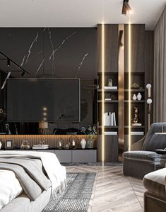 Luxury Bedroom Design, Luxury Interior, Interior Work, Interior Design, Tv Wall Design, House Design, Modern Tv Room, Living Room Tv Unit Designs, Tv In Bedroom