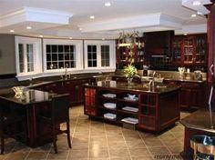 Kitchens- Cherry cabinets-dark backsplash- medium tone tile