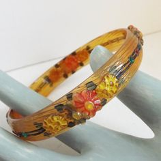 Art Deco vintage celluloid rhinestone bracelet bangle apple juice amber hand painted floral molded with wood grain texture by trendybindi