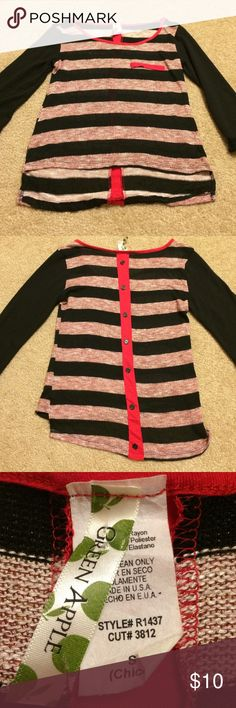 Green apple shirt Black and red stripes shirt size small. Back has buttons down the back for that added flair. Sleeves are 3/4 sleeves. Made of rayon, polyester and spandex. Green apple Tops Blouses