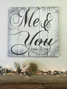 Me and You Pallet Sign Rustic Chic Wedding Shabby Chic Wedding Anniversary Gift Vintage Wood Sign Rustic Wall Art Pallet Art Handpainted - Pallet signs rustic, Vintage wood signs, Rustic wall art, Pal - Pallet Crafts, Diy Pallet Projects, Wood Crafts, Wood Projects, Pallet Ideas, Pallet Designs, Decor Crafts, Wood Pallet Signs, Wood Pallets