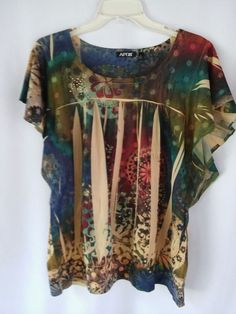 08325c71 9 Ladies Blouse Multi Color Floral XL Polyester Cap Sleeves EUC #Apt9 # Blouse #Casual SOLD Thank You