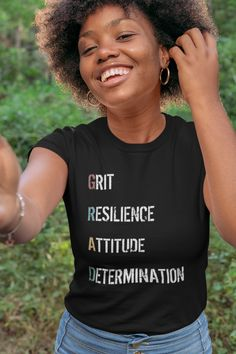 This Grit Resilience Attitude Determination (GRAD) Graduation design is perfect for hardworking high school, college and university graduates. Also great for a graduation party or commencement speech. available from Amazon (prime eligible) in a range of colors for both women and men. #graduation #GraduationShirt #GraduationGift #ClassOf2021 Cool Tees, Cool T Shirts, Short Shirts, Christian Shirts, Jersey Shorts, Short Sleeve Tee, Short Sleeves, Long Sleeve, Black History