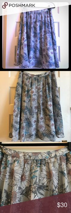 Grey Pastel Floral Astr Skirt Floral patterned crepe skirt with lining, Size Large. Zip closure in back. Astr from Nordstrom. Nordstrom Skirts A-Line or Full