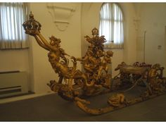 King Ludwig II's royal sleigh.  In the Marstall museum of Nymphenburg.