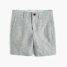 A classic dress-up, dress-down short, in 100 percent linen that's the perfect lighter weight for spring. <ul><li>Linen.</li><li>Internal adjustable elastic waistband.</li><li>Belt loops.</li><li>Zip fly.</li><li>Sizes 2-7 have faux button with easy-slide hook-and-bar closure; sizes 8-14 have button closure