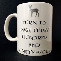 """Harry Potter """"Turn To Page Three Hundred And Ninety-Four"""" Coffee Mug! (Harry Potter Drinkware, Vinyl Decor, Snape Quote, Harry Potter Decor)"""
