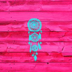 Hipster Teal Dreamcatcher Girly Pink Fuchsia Wood  by Girly Trend