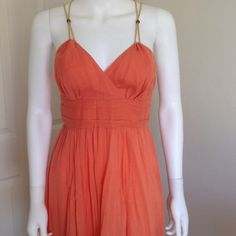 MICHAEL KORS coral dress Size 2 Gorgeous dress by MICHAEL KORS Size 2 only worn twice. Side zip closure, gold rope straps that cross in the back. Light and flowy-- perfect for summer! Michael Kors Dresses