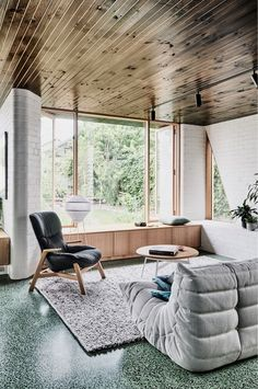 Beautiful timber window seat with cabinetry. Local Australian Architecture & Design Brunswick West House Created By Taylor Knights 4 Bungalow Extensions, House Extensions, Terrazo, Bungalow Homes, Melbourne House, Terrazzo Flooring, Living Spaces, Living Room, The Design Files