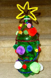 Christmas Tree Craft using an empty green tinted 2-liter soda bottle and embellishments.