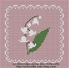 Cross-stitch Lily of the Valley Biscornu... no color chart available, just use the pattern chart as your color guide.. or choose your own colors...