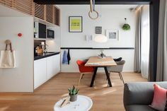 Zoku Amsterdam Accommodation: Long/Short Stay Apartments In Amsterdam Minimalist House Design, Tiny House Design, Minimalist Home, Small Apartment Design, Small Apartments, Small Spaces, Zoku Amsterdam, Small Living, Living Spaces