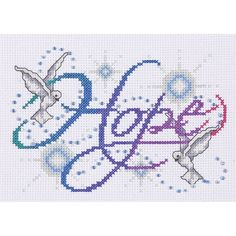 "Hope Counted Cross Stitch Kit-5""""X7"""" 14 Count"