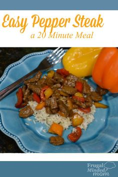 Easy Pepper Steak - A 20 Minute Meal - Frugal Minded Mom - Looking for a fast and frugal recipe that your family will love? Budget Meal Planning, Cooking On A Budget, Easy Cooking, Budget Freezer Meals, Frugal Meals, Easy Meals, Easy Dinner Recipes, Great Recipes, Beef Recipes