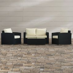 Brayden Studio Badgett 4 Piece Deep Seating Group with Cushions & Reviews   Wayfair