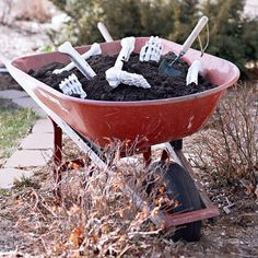 A Wheelbarrow of Bones is a great way to add spooky flair to your front yard: http://www.bhg.com/halloween/outdoor-decorations/halloween-outdoor-makeover/?socsrc=bhgpin092814wheelbarrowofbones&page=26