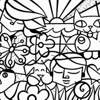 Desenho de Obra de Romero Britto para colorir