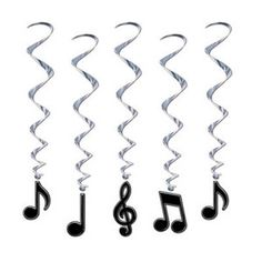 music note decorations   ... 50's Party Black Musical Music Notes Hanging Whirls Decorations   eBay