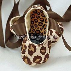 Leopard Satin Ballet Slippers $32.50
