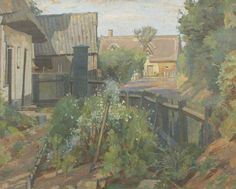 Coates Corner, Assington, Suffolk by Percy Frederick Horton (1897-1970.) Date painted: 1938. Oil on board, 37.9 x 47.9 cm Collection: Tullie House Museum and Art Gallery Trust, Carlisle, England. [A rather neglected garden, I would say.]