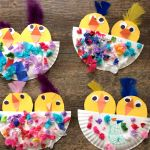 These adorable chicks were made by Becky Taszarek's daycare kids! These would be so fun to make for Spring or an Easter craft! Supplies Needed: Paper plate Tissue paper Feathers Yellow, orange, and white paper Glue/Scissors Cut a paper plate in half then Easter Crafts For Toddlers, Spring Crafts For Kids, Toddler Crafts, Art For Kids, Kid Art, Craft Activities, Preschool Crafts, Kids Crafts, Craft Projects