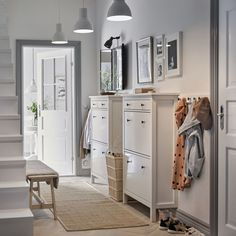 Picturesque Design Entryway Furniture Ikea Hallway Ideas IKEA A White With Two Traditional HEMNES Shoe Cabinets Side By And Row Storage entryway furniture ikea. storage at ideas Tema Design Site Ikea Hallway, Hallway Shoe Storage, White Hallway, Hallway Furniture, Hallway Ideas, Ikea Shoe Storage, Pictures In Hallway, Coat Hooks Hallway, Shoe Cabinet Entryway