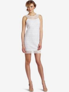 Size 0. Women's Crochet Neck Mix Lace Dress, Optic White. Available one item in white color and one in green. | eBay!