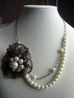 Pearl and Brown Lace Flower Pendant Necklace. $29.00, via Etsy.
