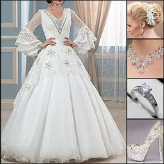 Share this if you love this dress ? #BridalDress #BridalGown #Necklace #Ring #Shoes #Fashion #NewLook