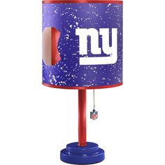 New York Giants and Red Plastic and Wood Table Lamp