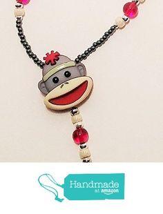Handmade Beaded Lanyard~Sock Monkey~Grey~Badge ID Holder Lanyard Necklace, Necklaces, Owl Charms, Split Ring, Id Holder, Monkey, Badge, Glass Beads, Socks