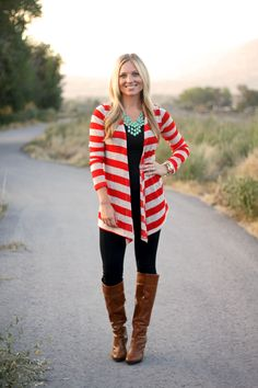 Lightweight Striped Cardigan - clearly I can't wait to wear leggings and boots on the reg.