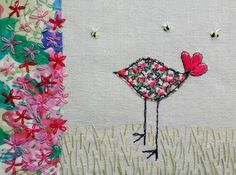 Bird and bees with liberty fabric and hand stitch https://www.facebook.com/TorsDuce/photos/pb.163246237073100.-2207520000.1454666995./1018370541560661/?type=3&theater