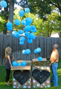 Photography: Gender Reveal Ideas.   Two boxes to also say twins!