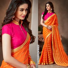This zesty orange Saree embraces the summer atmosphere with its golden waving strips matching with front zipped blouse. #RubyPink #BrightOrange #Orangesaree #BridalCollection #Fashionista #Fashion2015 #ZippedBlouse #GoldenBoarderSaree #BollywoodSaree #BollywoodFashion Shop at 25% off http://www.indianweddingsaree.com/Product/173767.html