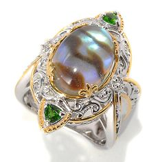 154-958 - Gems en Vogue 14 x 10mm Abalone, Chrome Diopside Trillion & White Sapphire Ring