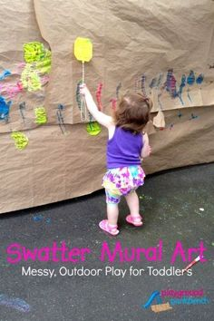With warmer weather, take messy play into the great outdoors.  Your toddler will love this exploration of art on a large scale with paint and fly swatters