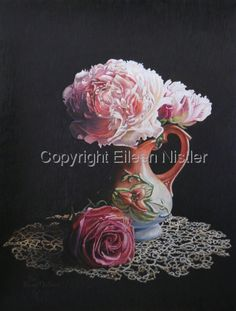 Peonies, Rose and Tatted Lace