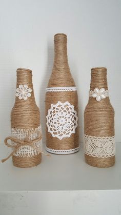 Glass Bottle Crafts, Wine Bottle Art, Painted Wine Bottles, Diy Bottle, Twine Bottles, Wrapped Wine Bottles, Bottles And Jars, Jute Crafts, Diy And Crafts