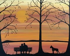 """""""Growing old together"""", Original painting was created on a 24x30 framed gallery wrapped canvas. Romance is in the air with warm colors and silhouette couple on a bench with their beloved dog. at www.rachelolynukart.com"""