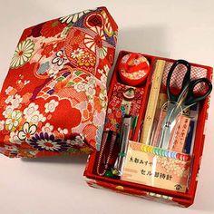 Sewing kit in Japanese Chirimen box.