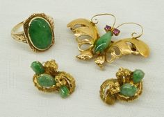 Group 14k Chinese Jade Jewelry Including Butterfly