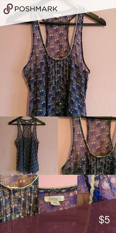Sheer Aerie Blouse Pretty Sheer blouse with gold stitching! In great condition.  Size: Medium 100% polyester aerie Tops