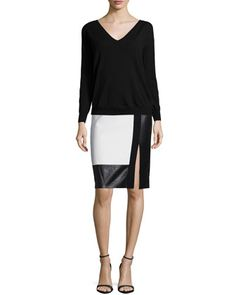 Long-Sleeve Tissue Sweater & Colorblock Leather-Inset Pencil Skirt by Ralph Lauren Black Label at Neiman Marcus.