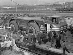 Antarctic Snow Cruiser.  circa: 1939.  Huge vehicle that was  abandoned because the tires couldnt hold traction and it got stuck  (coffeefiend)