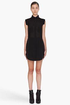 T BY ALEXANDER WANG Black Silk Blend Shirt Dress